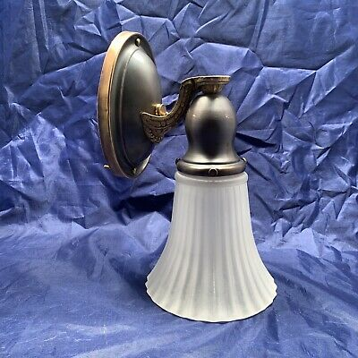 Single Brass Antique Wall Sconce Fixture Frosted Scalloped Shade 77A