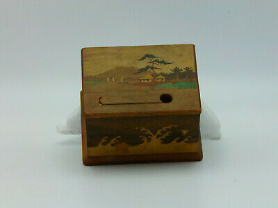 Antique Japan Cigarette Dispenser Wood Inlay From 1939 World Fair