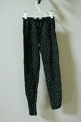 GapKids XL Size 12 Black Leggings with Glitter Silver Heart and Star Pattern