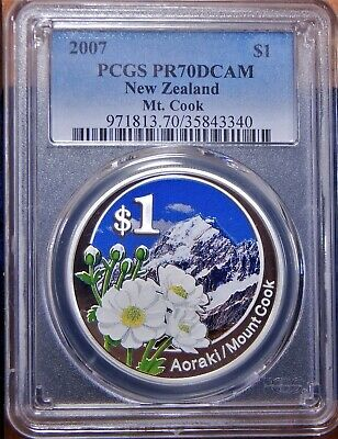 PERFECT New Zealand 2007 Mt. Cook/Aoraki $1 PCGS PR70 DCAM Proof Coin COA POP 1!