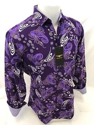 Mens PREMIERE Long Sleeve Button Down Dress Shirt NAVY PAISLEY UNTUCKED 112 NWT