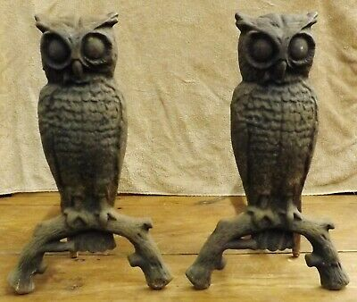 Pair of Antique Cast Iron Owl Fireplace Andirons