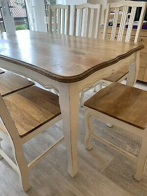 Dining Kitchen Table - 8 seats - Oak & White French Shabby-Chic