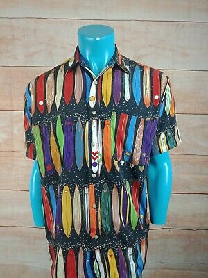 COLOURWAYS Vintage Hawaaian Short Sleeve Mens Button front Shirt SIZE S Surf