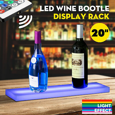 "20"" LED Lighted Back Bar Liquor Display Shelf Wine Bottle Stand Rack W/ 44Key RC"