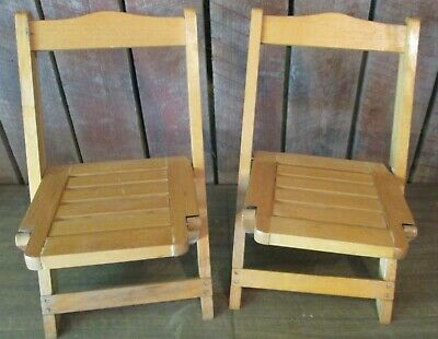 2 Vtg Antique WOOD Wooden Slat Folding Chair - Child Size or Doll PAIR