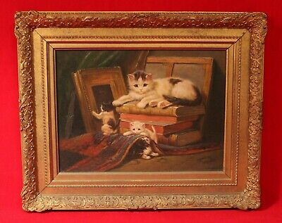 19th Century Antique Painting of Cats Playing in the Attic Oil on Wood Panel