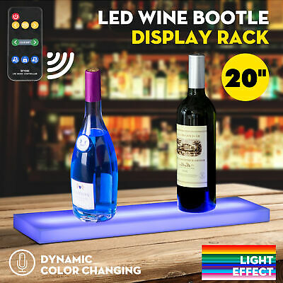 "20"" Music-Activated LED Lighted Bar Liquor Display Shelf Wine Bottle Stand Rack"