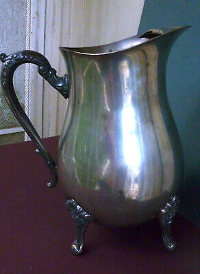 LEONARD Silver Plate Water Pitcher FOOTED Ice Guard Vintage