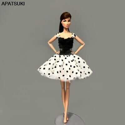 "Fashion Black White Tutu Dress For 1/6 Doll Clothes Party Gown For 11.5"" Doll"