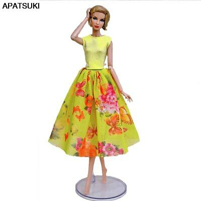 """Fashion Doll Clothes For 11.5"""" Doll Outfits 1/6 Party Gown Top Floral Midi Skirt"""