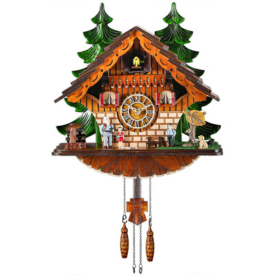 Kintrot Cuckoo Clock Traditional Black Forest Chalet Clock Handcrafted Quartz
