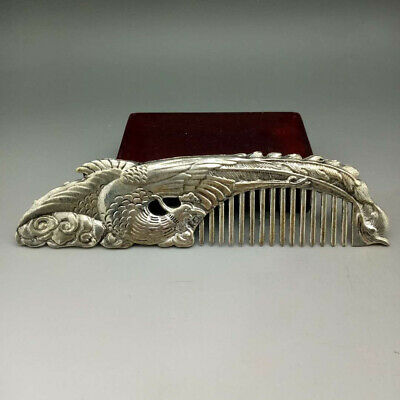 Old Collectibles Decorated Handwork Miao Silver Carving Belle Noble Rare Comb