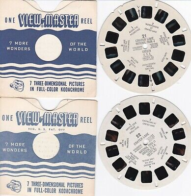2 View-Master Crater Lake National Park #21 1948 & #22 1954 Oregon,2 Sleeves