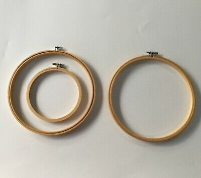 """THREE Wooden Embroidery Hoops  - 2 x 8"""", 1 x 5"""" - Very Good Condition"""