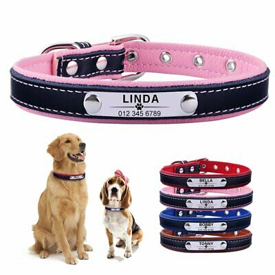 Engraved Leather Personalized Dog Collar ID Tag Custom Name Small Medium Large
