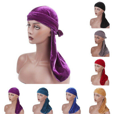 UK Unisex Mens Women Breathable Bandana Hat Velvet Durag Long Headwrap Chemo Cap