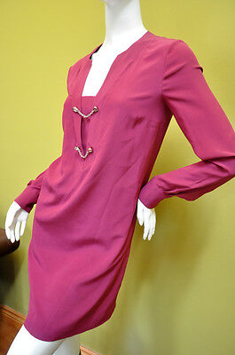 GUCCI Womens Dress Pink Berry Crepe Silk Long Slevees Sz 2 38