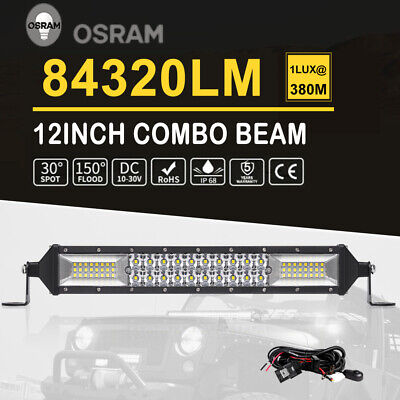 12Inch LED Light Bar Spot Flood Combo Driving 4WD Offroad ATV Work UTE  + Wiring