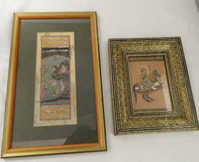 Collection of 2 vintage Middle Eastern miniature hand paintings