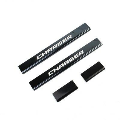 11-18 DODGE CHARGER LOGO Black Anodized Stainless Steel Door Sill Guards