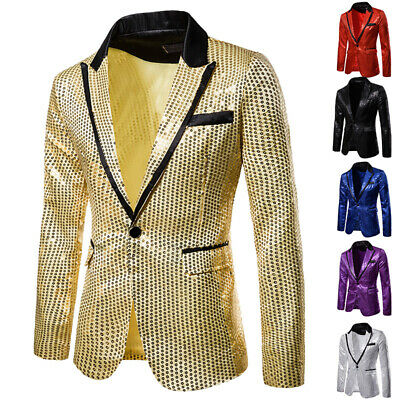 Men Formal Shiny Sequin Jacket Suit Blazer Outfit Stage Costume Wedding Top