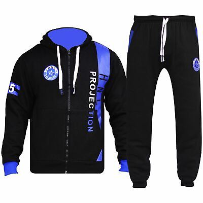 Boys Girls Tracksuit HNL Projection Print Royal Blue Hoodie & Botom Jogging Suit