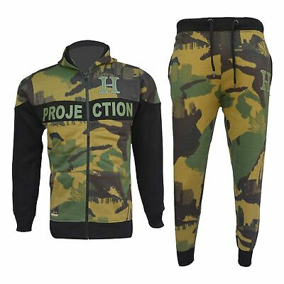 Kids Boys Girls Tracksuit HNL Green Camouflage Hoodie Bottom Jogger Jogging Suit