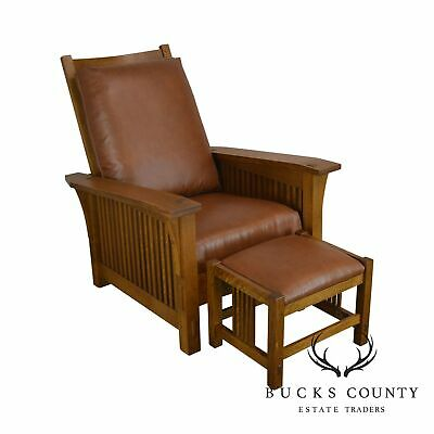 Stickley Mission Collection Oak Spindle Morris Chair With Stool