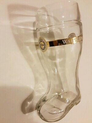 Warsteiner boot shaped clear beer mug - 1 liter - 9 1/2 inches tall