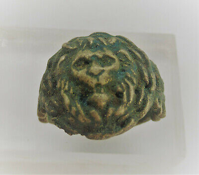 Antique Old Bronze Ring With Lion Head Bezel Very Nice
