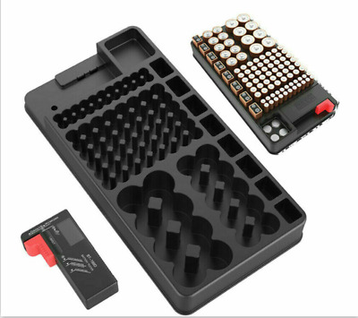 HQ Battery Storage Organizer Holder with Tester - Battery Caddy Rack Case Box