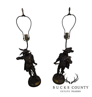 """Pair Cast Spelter Figural Table Lamps of Cavaliers """" Don Juan"""" and """"Don Ceasar"""""""