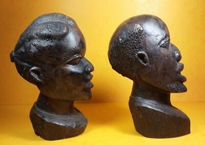 Vintage Pair African Tribal Solid Hardwood Carved Heads Sculpture / Ornament