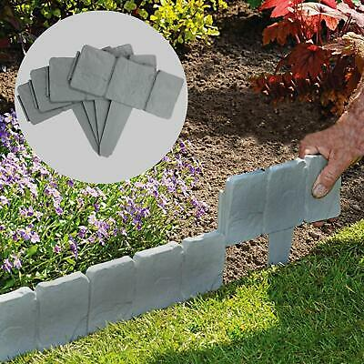5 Meter Grey Stone Effect Lawn Edging | Plant Bordering | Hammer In Cobblestone