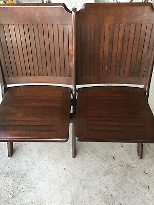 Antique 1930's Heywood Wakefield Dbl Wooden Slat Stadium/Theater Folding Seats