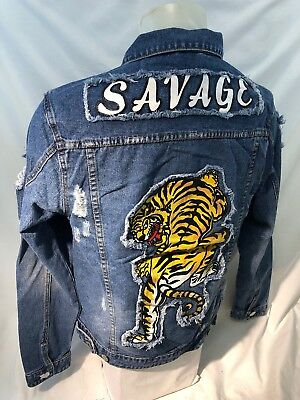 MENS VICTORIOUS DENIM Jacket TIGER SAVAGE BLUE JEAN RIPPED DISTRESS VINTAGE 133