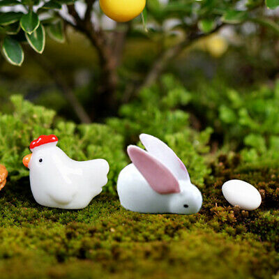 10* Easter Ornament Eggs Rabbit Chick Resin 10X Micro Landscape Garden Gifts FR