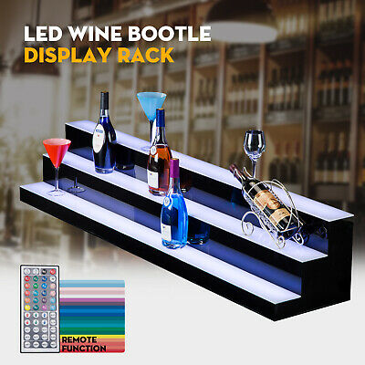 "60"" 3 Step Tier LED Lighted Back Bar Glowing Liquor Bottle Display Shelf Stand"