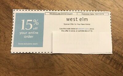 West Elm Coupon 15% Off Your Order Exp 10/31/19