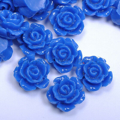 20pcs Sapphire Gorgeous Rose Flower Resin Loose Spacer Beads 10MM