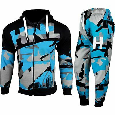 Kids Boys Girls Tracksuit HNL Blue Camouflage Hoodie & Botom Jogging Suit 7-13 Y