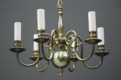 Antique Dutch vintage French Provincial 6 arm chandelier in polished brass chain