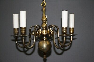Antique Dutch 1930 French Provincial 5 arm chandelier polished brass dragons