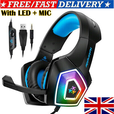 3.5mm Gaming Headset MIC LED Headphones for PC Laptops PS4 Slim Pro Xbox One New