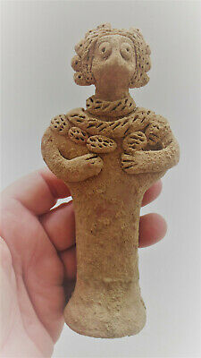 Museum Quality Ancient Syro-Hittite Terracotta Idol Mother Goddess Standing