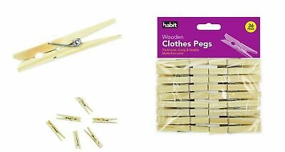 36x STRONG WOODEN CLOTHES PEGS/DRYER LAUNDRY/CLOTH LINE WASHING CRAFT/CLIPS/PINS