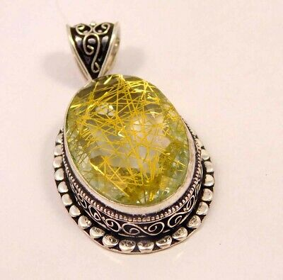 Golden Needle Rutlie .925 Silver Plated Hand Carving Pendant Jewelry JC6643