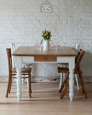 Rustic solid pine dining table with turned legs in off white & cutlery drawers f