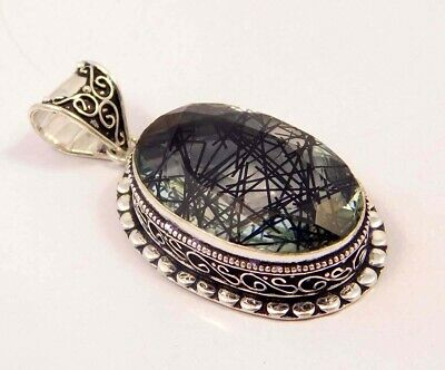 Black Needle Rutlie .925 Silver Plated Hand Carving Pendant Jewelry JC6631